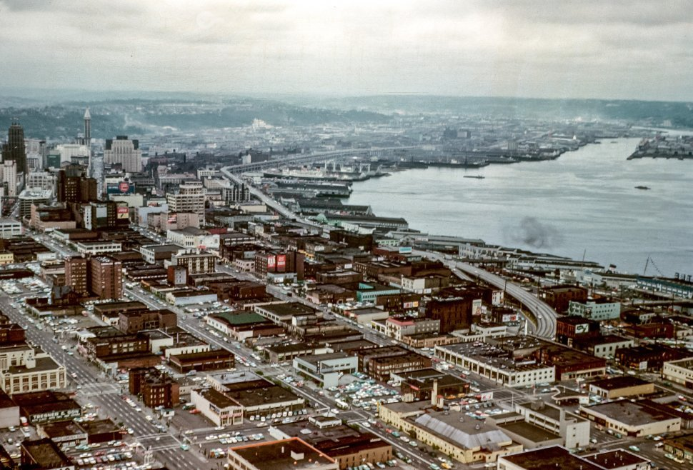 Free image of Aerial view of a city and waterway.