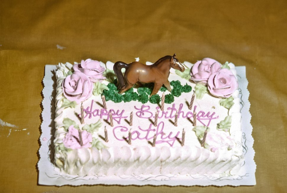 Free image of Birthday cake with horse on top.
