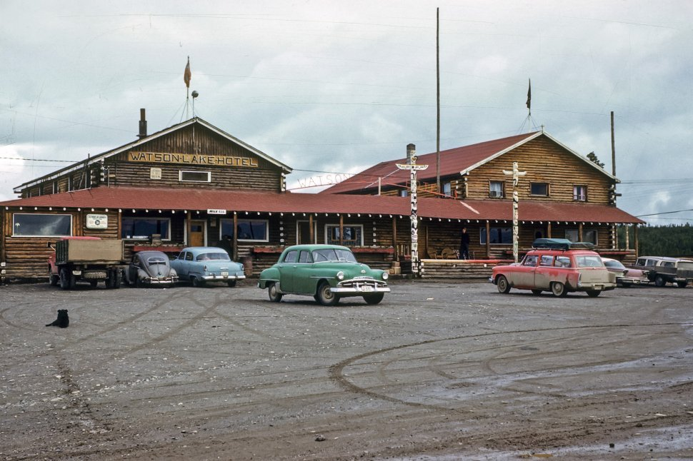 Free image of Cars parked in a hotel parking lot, Yukon, Canada