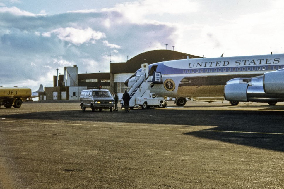 Free image of Air Force one sitting on the runway of an airport, USA
