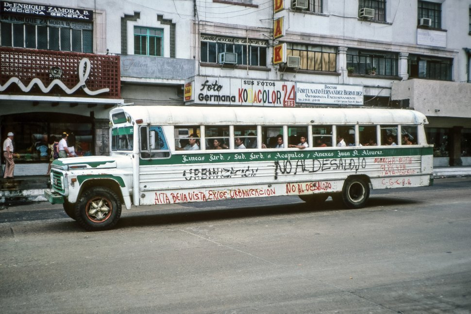 Free image of Graffiti painted on the side of a bus, Mexico