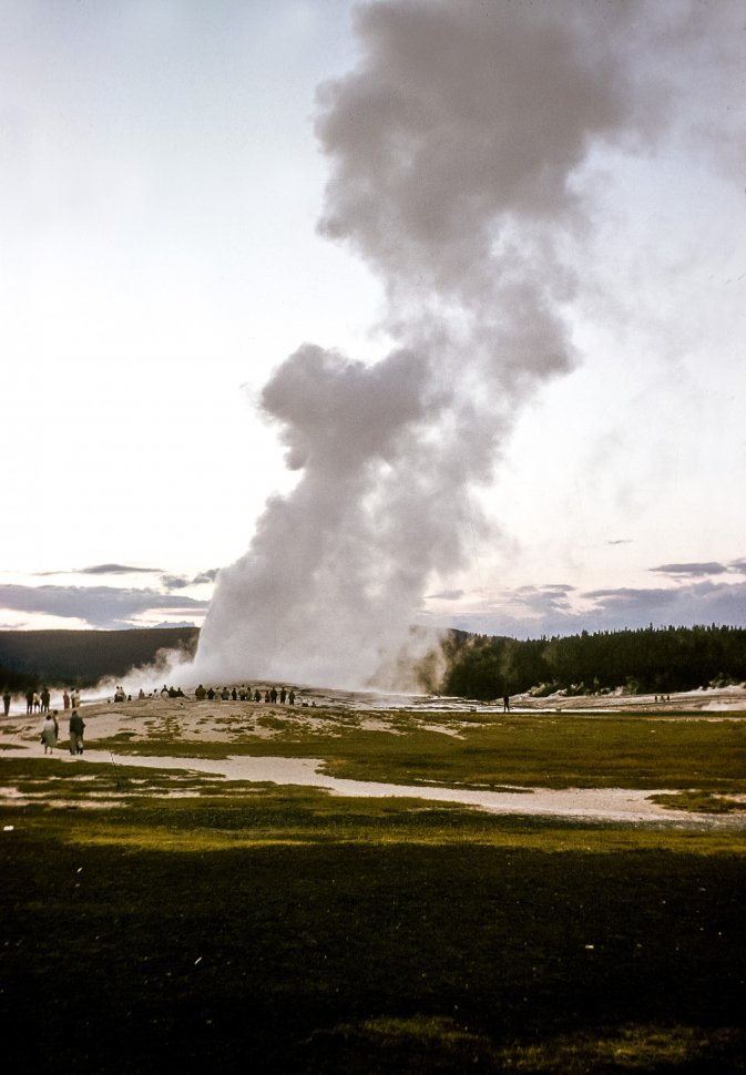 Free image of Active geyser with steam coming out, Yellowstone National Park, Wyoming, USA