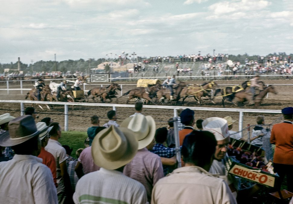 Free image of Crowd of people watching a wagon race at a rodeo.