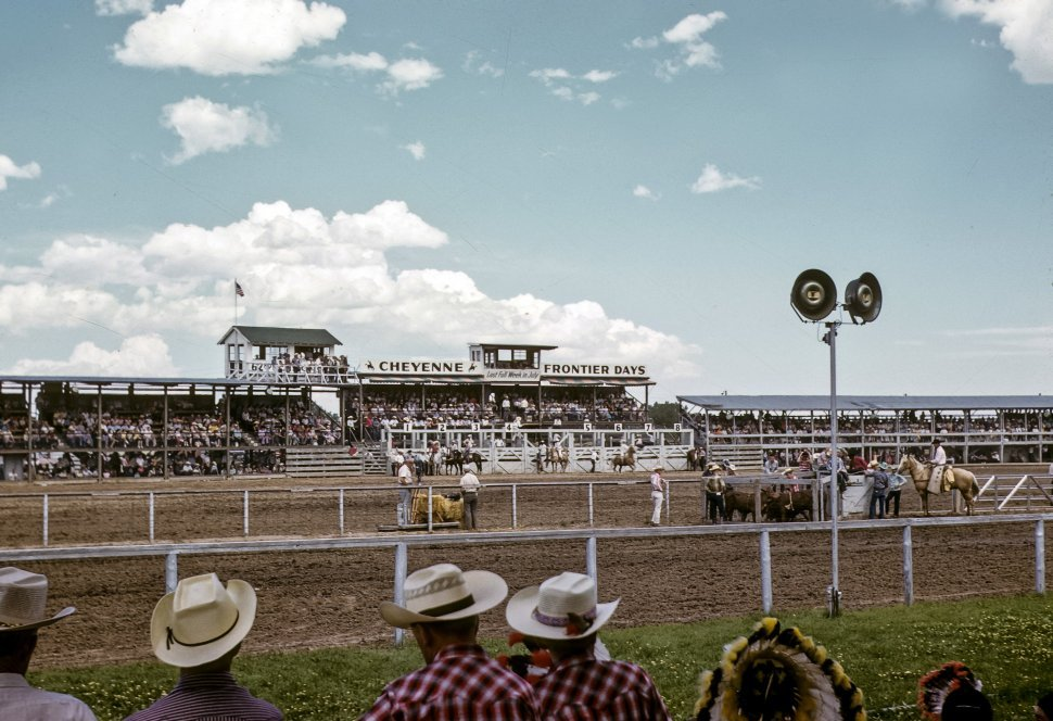 Free image of Crowd watching a cowboy performing on a bull at the rodeo, Cheyenne, Wyoming, USA