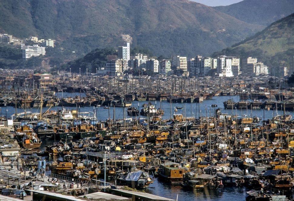 Free image of Aerial city view of harbor and city, circa 1974, Hong Kong, China