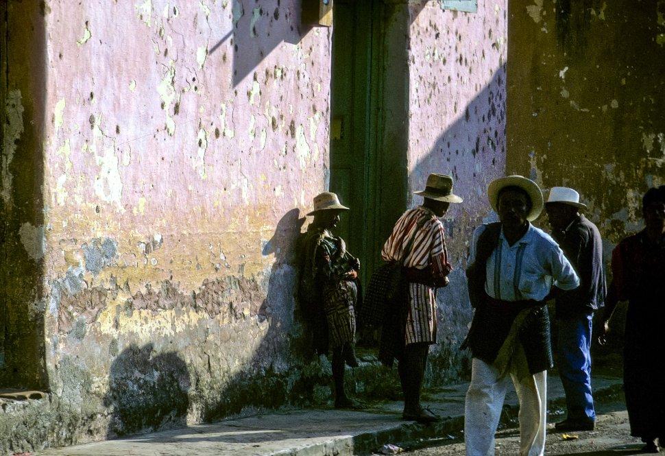 Free image of Local men walking on the street, circa 1969, Antigua