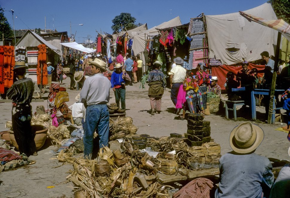 Free image of Crowd of people moving throught a marketplace, Chichicastenango, Guatemala