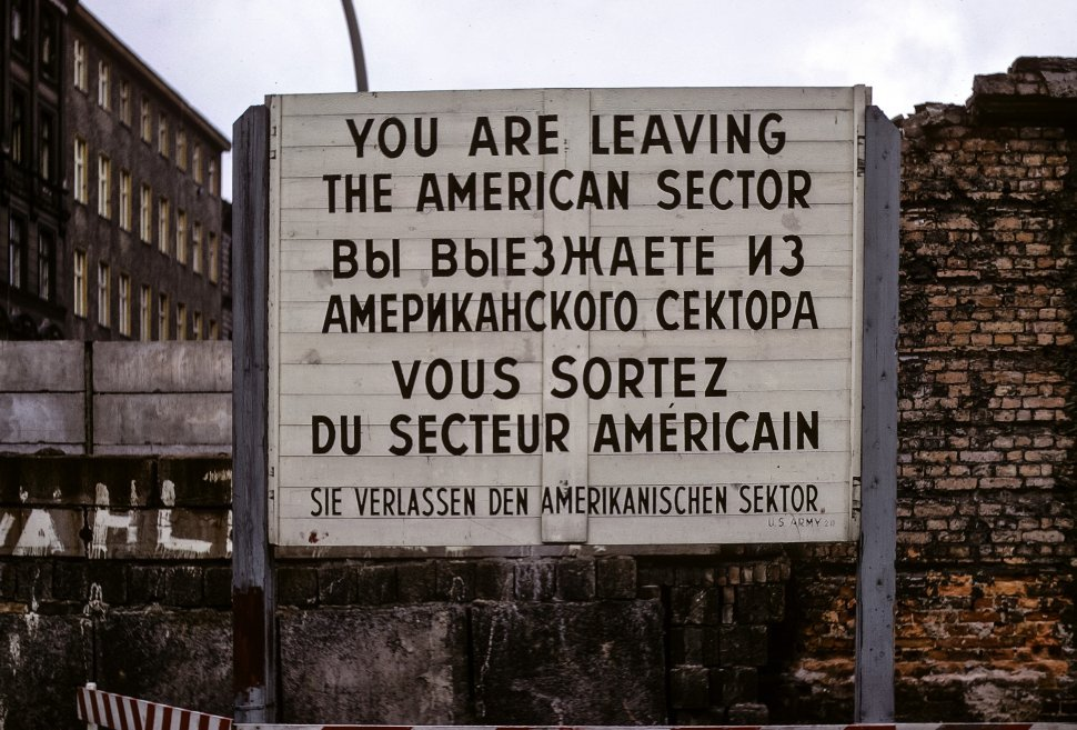 Free image of Sign warning border of American Sector in East Berlin, circa 1968, Germany