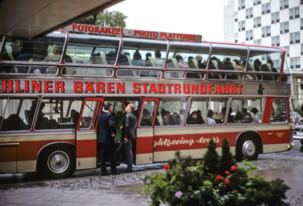 Free image of Tourists boarding a tour bus, circa 1968, East Berlin, Germany
