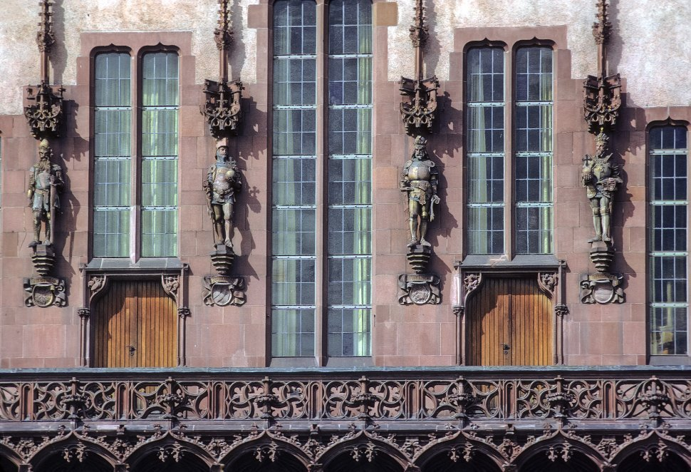 Free image of Statues in the facade of a building, circa 1968, East Berlin, Germany