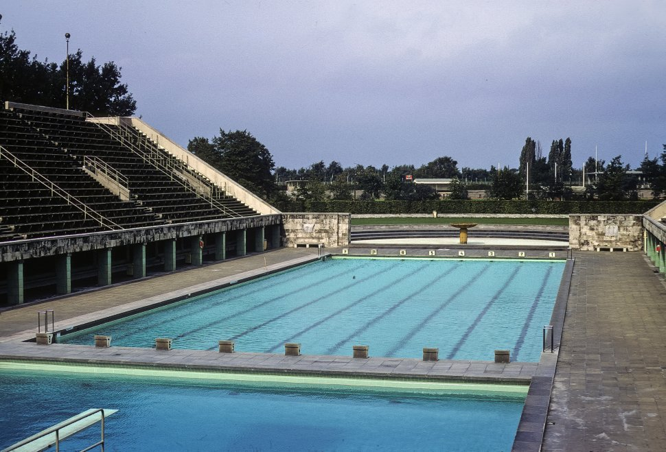 Free image of Swimming pool at the stadium where the 1936 Berlin Olympics, circa 1968, East Berlin, Germany