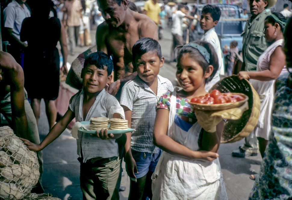 Free image of Children selling food on the street in a marketplace, San Salvador