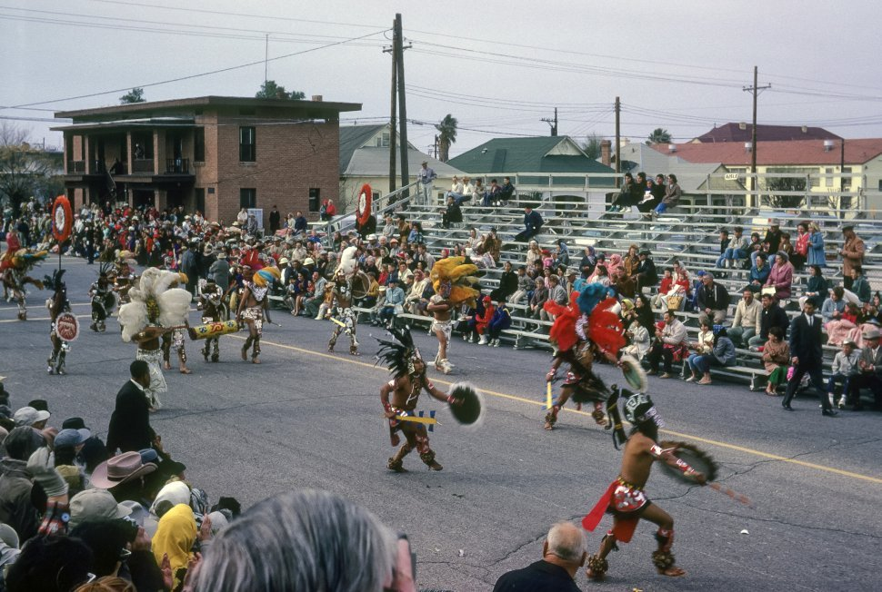 Free image of Traditional Native American dance and costumes in a parade, Tucson, Arizona, USA