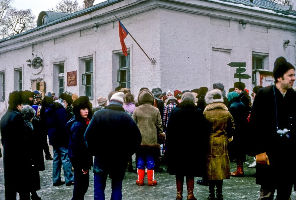 Free image of Crowd of people waiting outside a government building in the cold, Russia