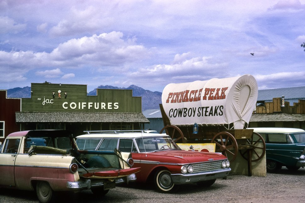 Free image of Parking lot and vintage cars at a western themed restaurant, Pinnacle Peaks, Tucson, Arizona, USA