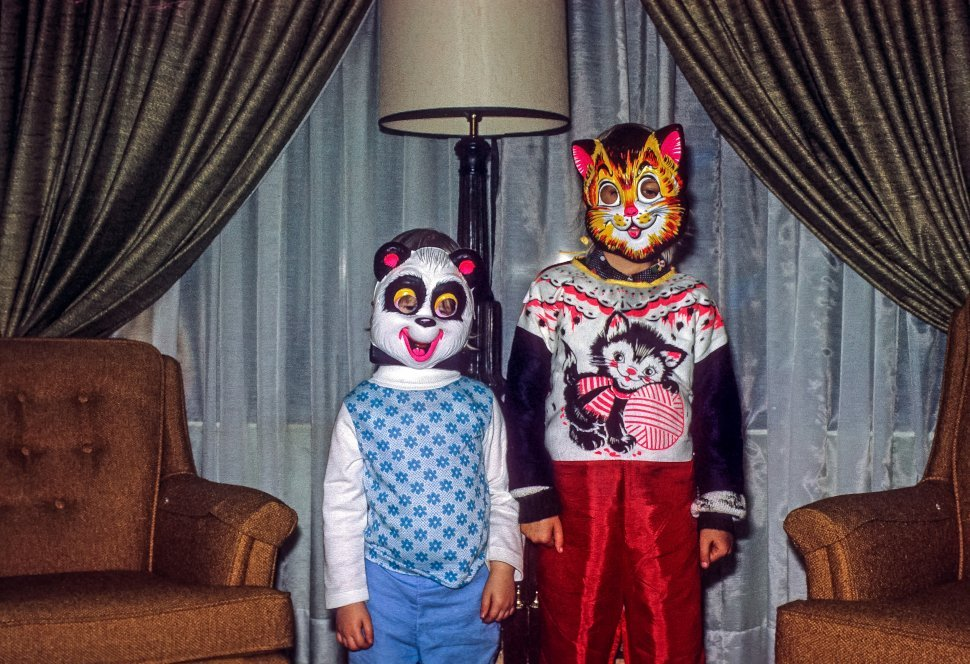 Free image of Two children posing in their Halloween costumes, USA