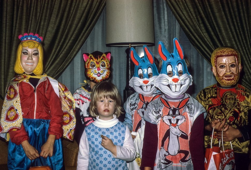 Free image of Group of children posing in their Halloween costumes, USA
