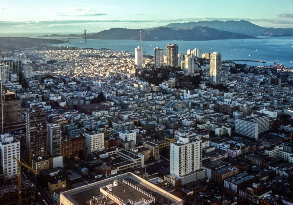 Free image of Aerial view of the city of San Francisco and the Golden Gate Bridge, San Francisco, California, USA
