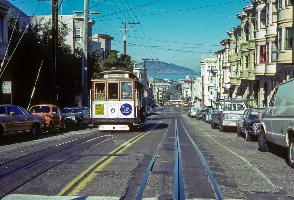 Free image of Trolley car in San Francisico with Alcatraz Island in the background, San Francisico, California, USA