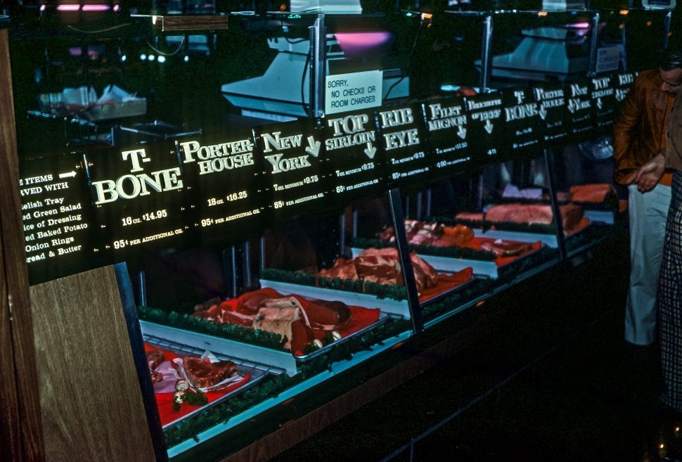Free image of Several different cuts of beef at a butcher s counter, USA