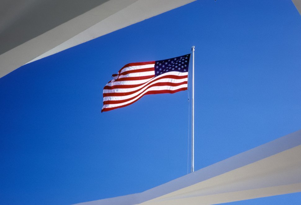 Free image of The American flag blowing in the wind, USA
