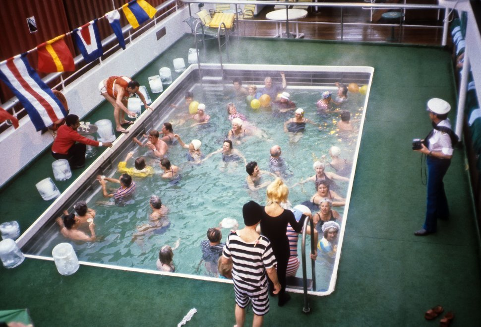 Free image of Large group of people getting into a steaming pool  on a cruise ship, Europe