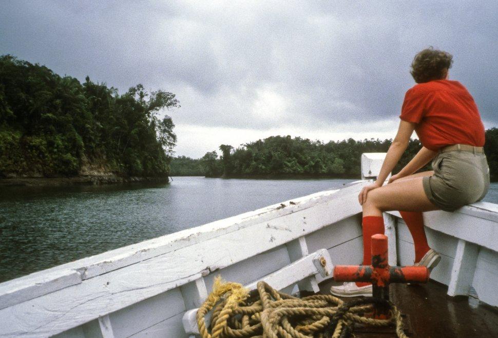 Free image of Woman looking out across lake as she rides on the bow of a boat, USA
