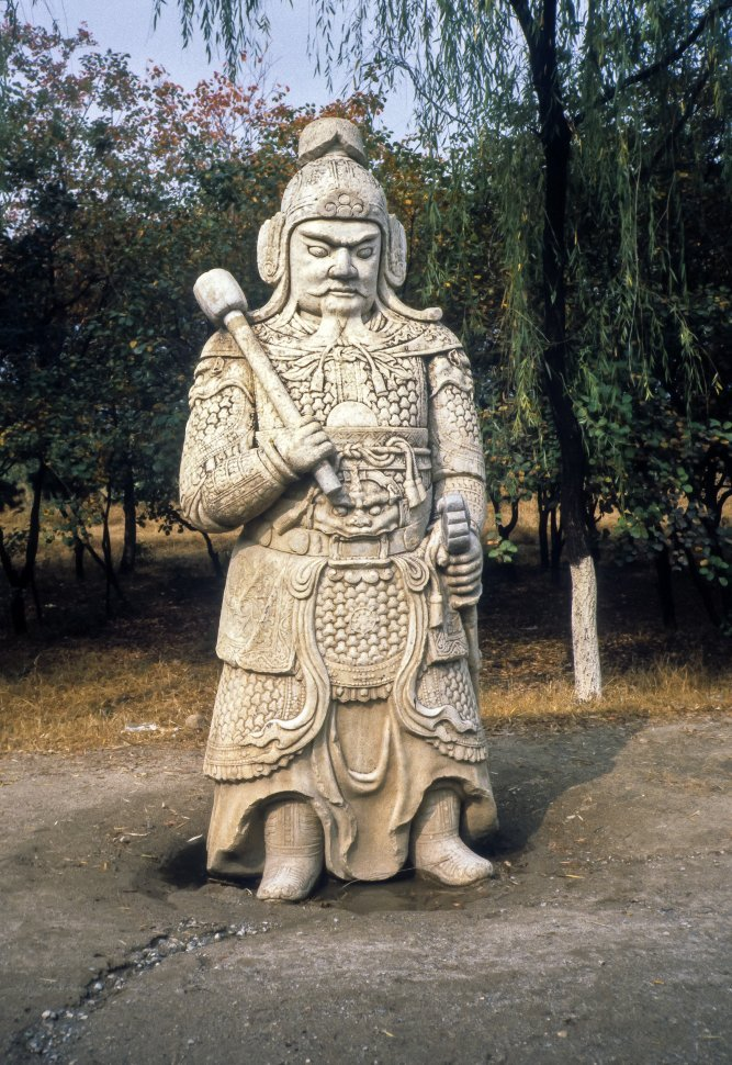 Free image of Large stone carving of a Chinese warrior, China