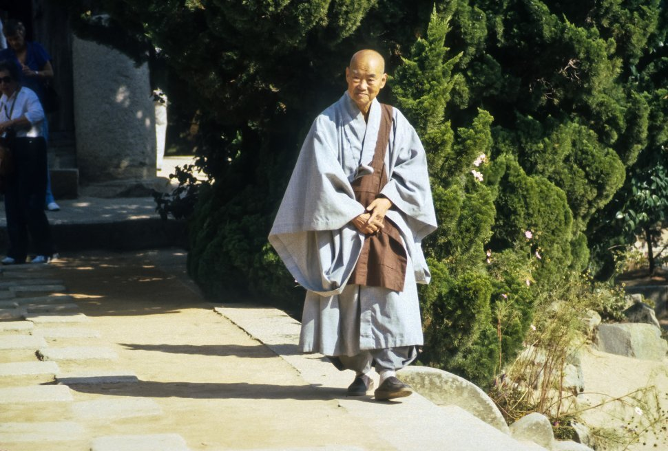 Free image of Buddhist monk walking along a pathway, Aisa