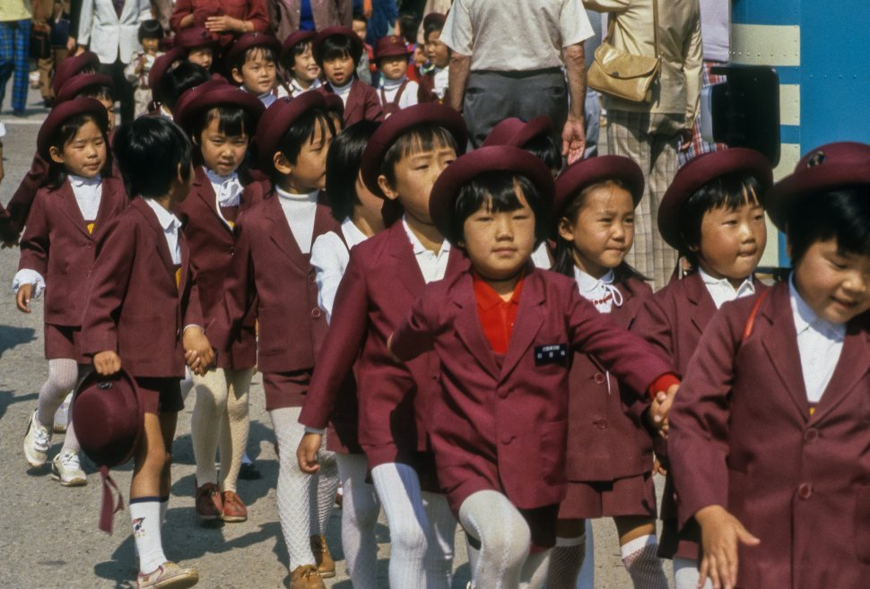Free image of School children walking walking with their teachers, Asia