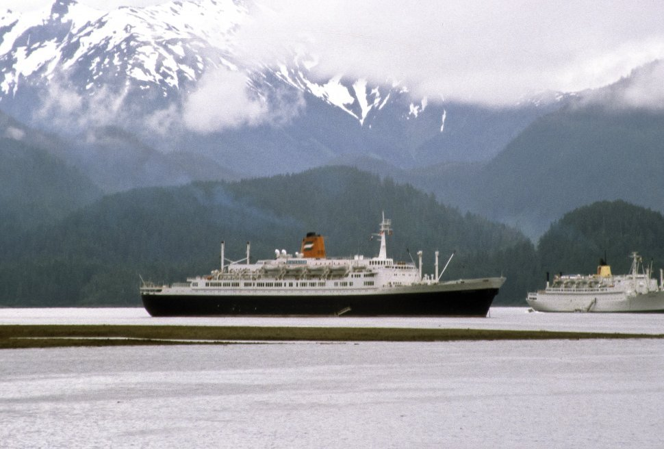 Free image of Two cruise ships moving through icy waters, Alaska, USA