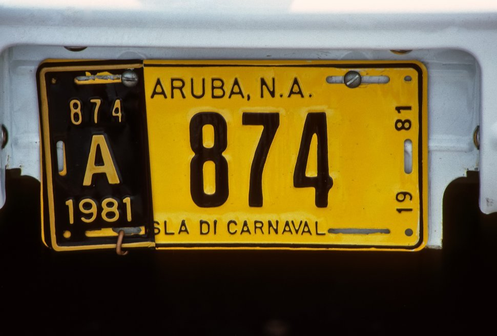 Free image of Close up of a license plate, Aruba