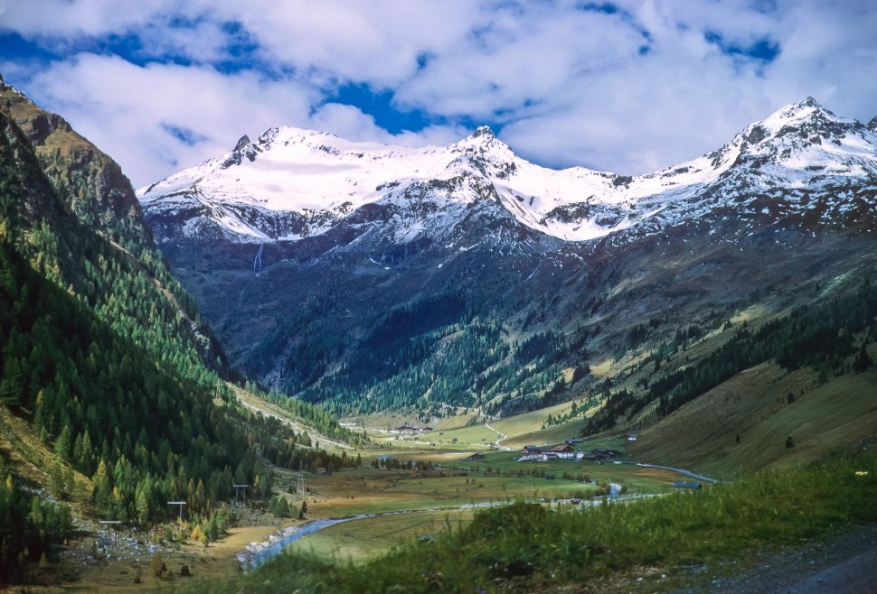 Free image of Beautiful valley with snow capped mountains, Europe