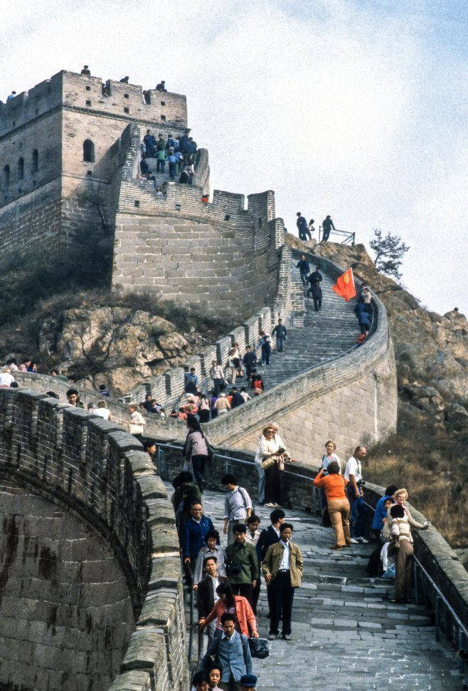 Free image of Large group of tourists walking along the Great Wall China, China