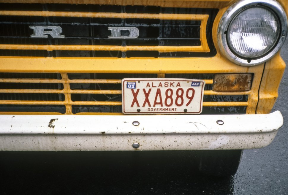 Free image of Close up of a Forb bumper and license plate, Alaska, USA