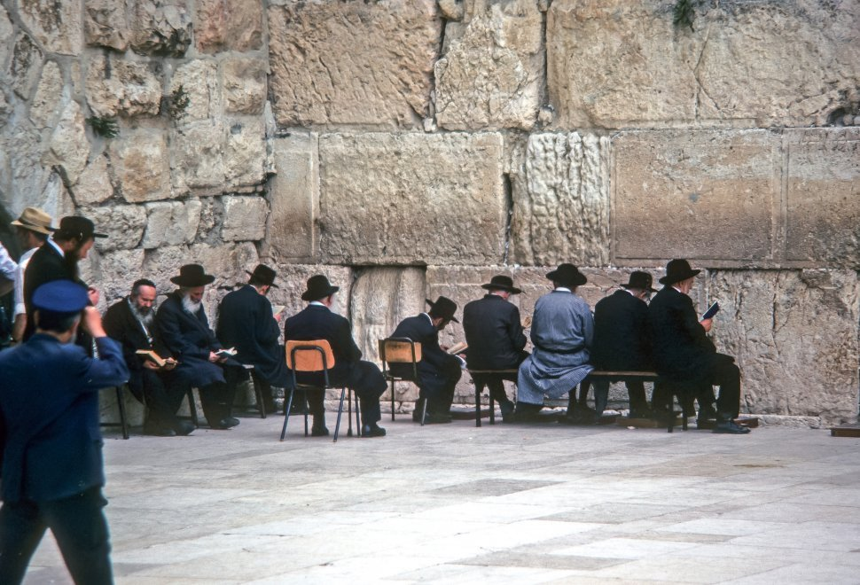 Free image of Chassidic Jewish men praying at the Wailing Wall, Jerusalem