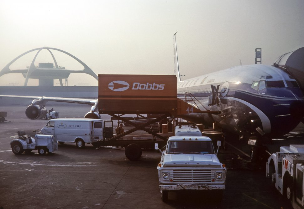 Free image of Image of an airplane parked at the gate at Los Angeles International Airport, Los Angeles, California, USA