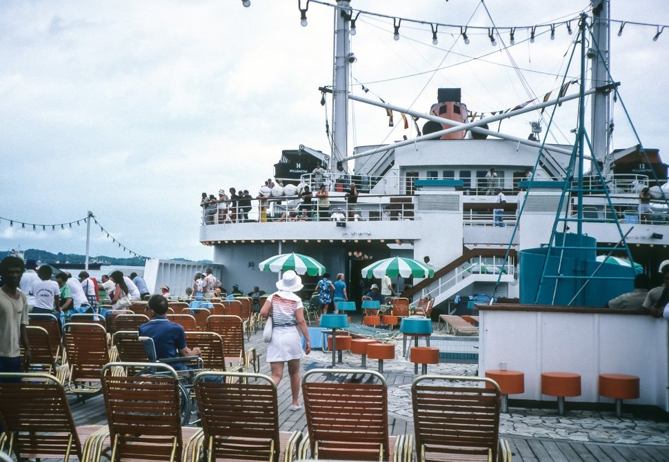 Free image of Tourists on the deck of a cruise ship, Europe