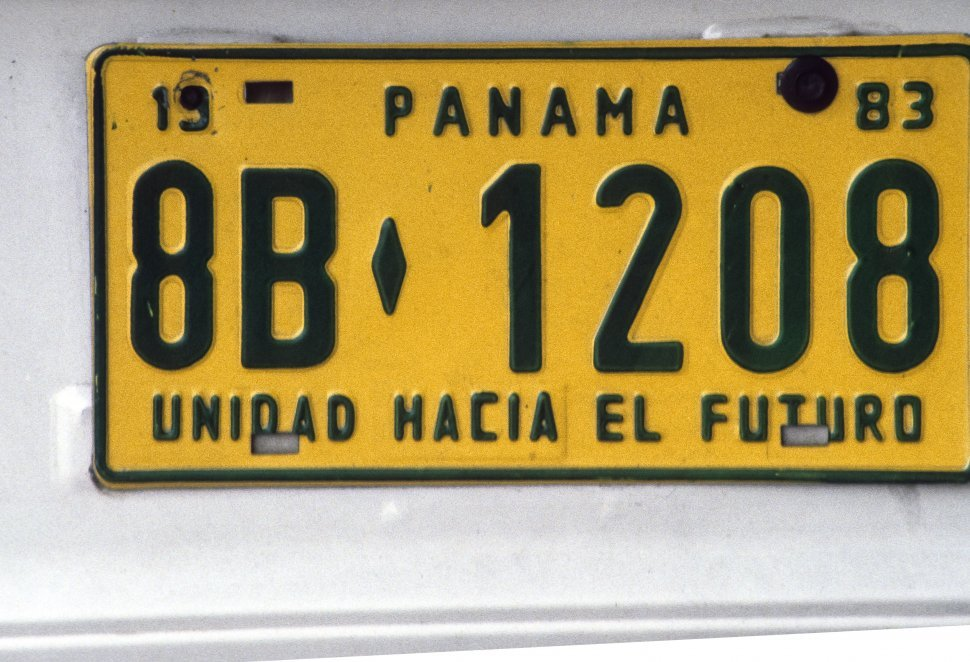 Free image of Close up a license plate in, Panama