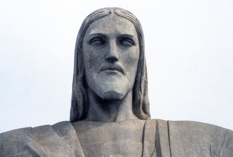 Free image of Corcovado the Redeemer or Christ the Redeemer statue close up, Rio de Janeiro, Brazil