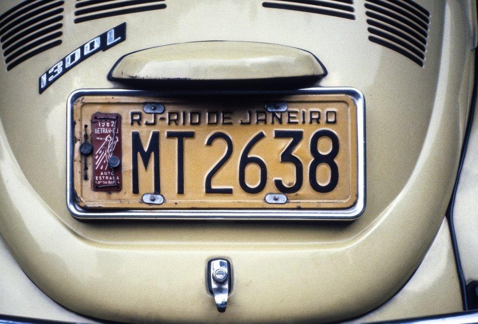 Free image of Close up of a Volkwagen Bug bumper and license plate, Rio de Janeiro, Brazil