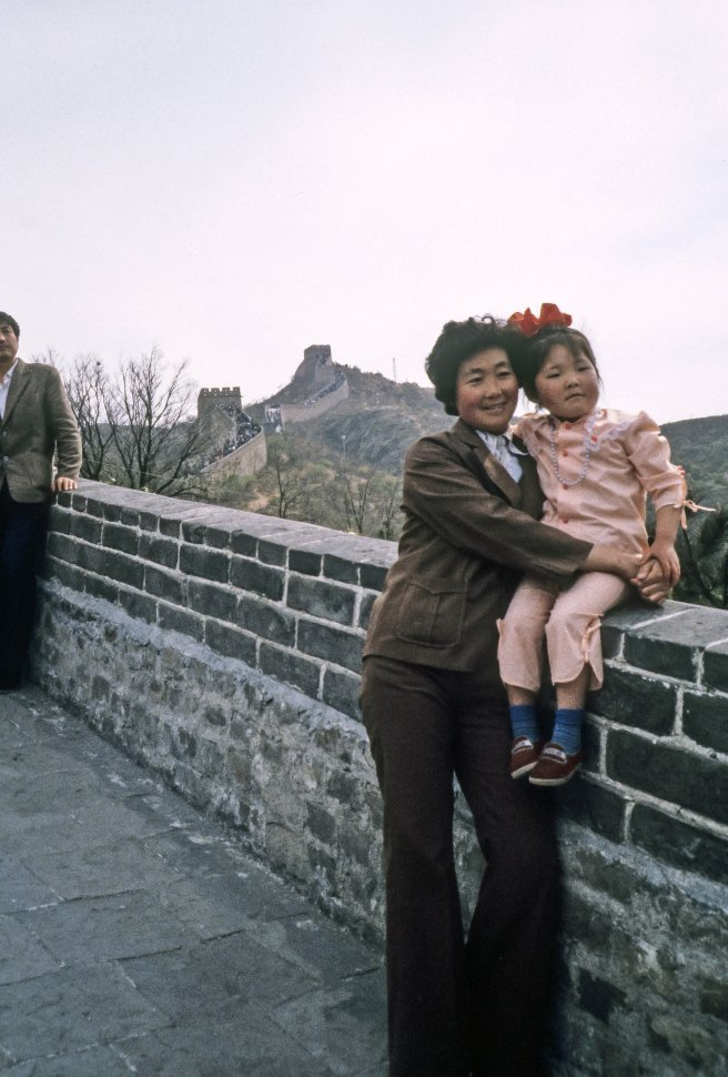 Free image of Woman and child posing on the Great Wall of China, China