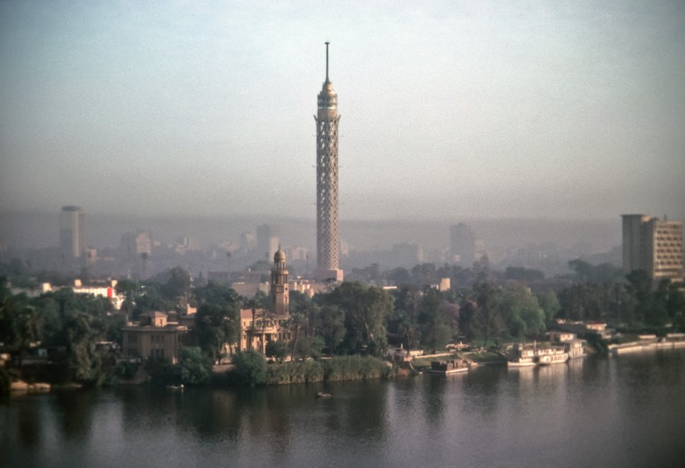 Free image of Cairo Tower and aerial city view and the Nile, Cairo, Egypt