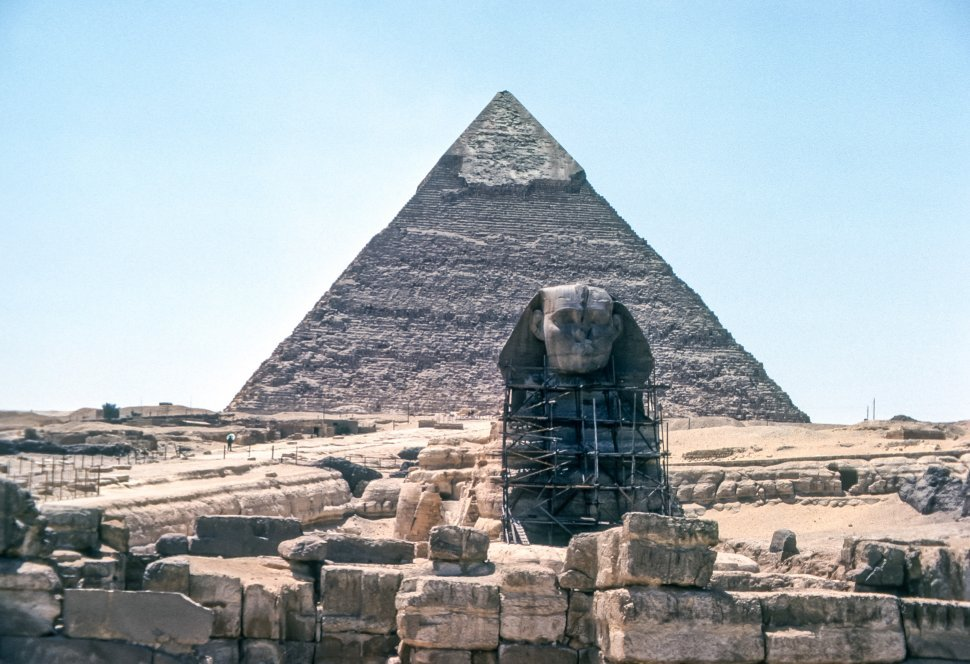Free image of The Great Pyramid and The Sphinx in the desert, Egypt