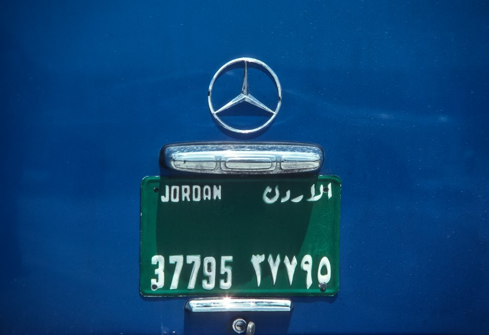 Free image of Close up of a license plate on a Mercedes, Jordan