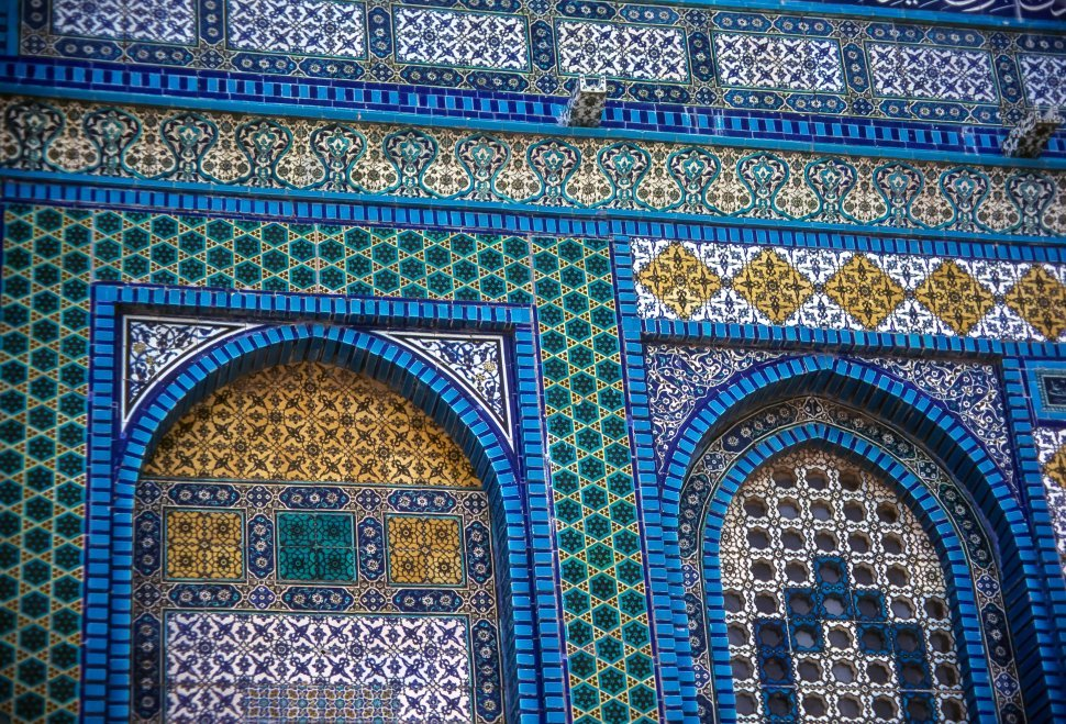 Free image of Beautiful tiled mosaic wall, outside of the Dome of the Rock, Jerusalem