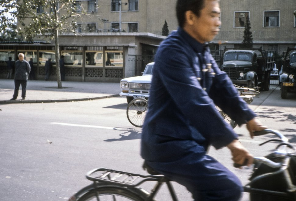 Free image of Man commuting on a bicycle, China