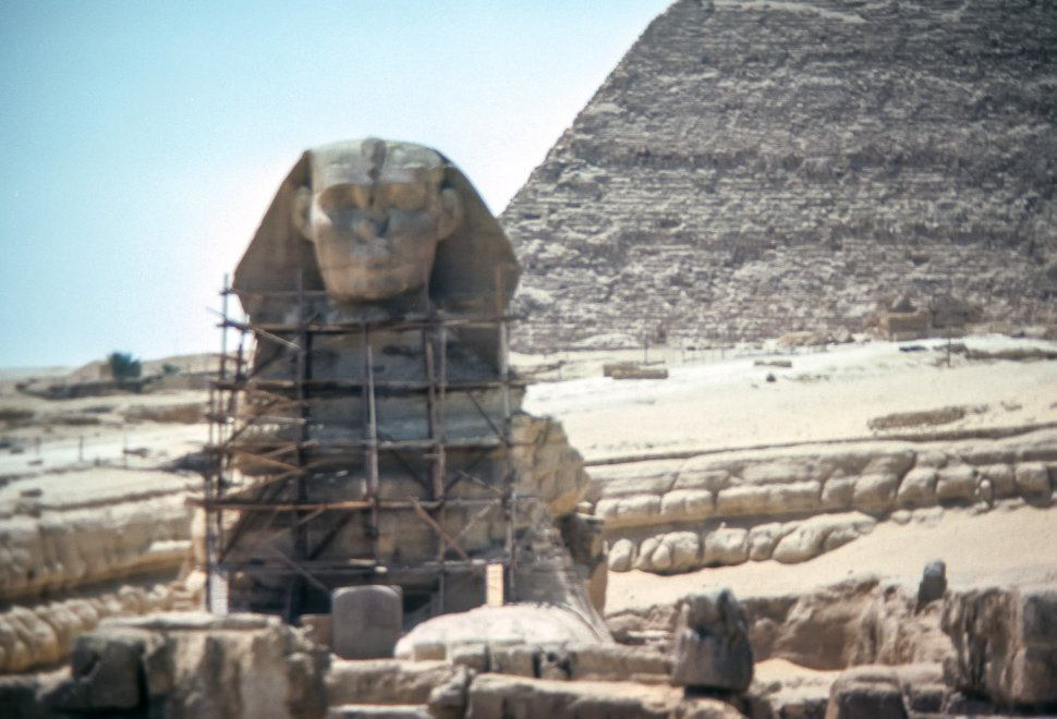 Free image of Image of scaffolding around the Sphinx, Egypt
