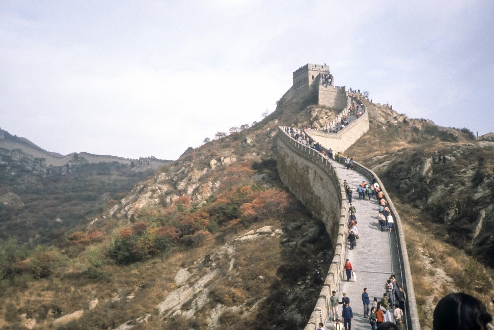 Free image of Large group of tourists climbing the Great Wall, China
