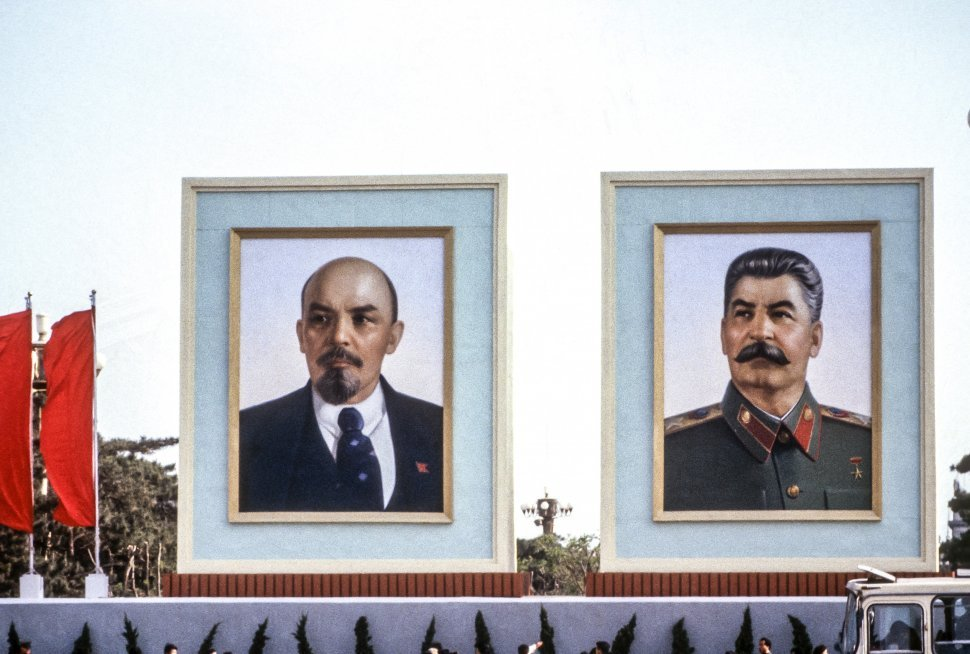 Free image of Image of propaganda posters of Lenin and Stalin, Russia